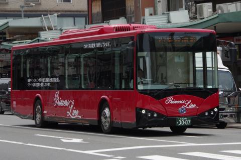 写真:おまけ… プリンセスラインバスに今春導入された韓国製の電気バス(Do You Kyoto? も結構ですが、市バスも全車電気バスにする意気込みがほしい!)