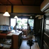 写真:事務所の窓辺でおしゃべり中